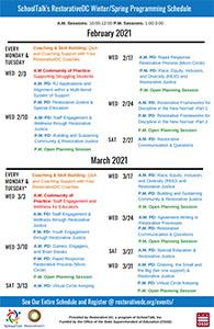 Thumbnail: SchoolTalk RestorativeDC Winter/Spring 2021 Programming Schedule